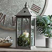 Morgan Gray Wooden Lantern
