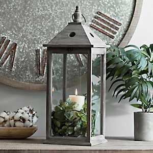Morgan Gray Wooden Lantern
