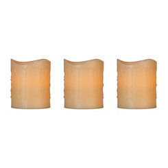 Flameless Ivory 4 in. Pillar Candles, Set of 3