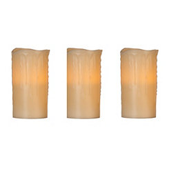 Flameless Ivory 6 in. Pillar Candles, Set of 3