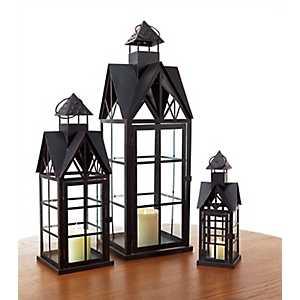 Black Cathedral Lanterns, Set of 3