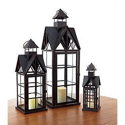 Black Cathedral Lanterns, Set of 3