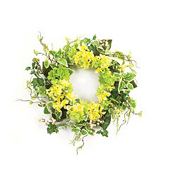 Yellow Hydrangea and Foliage Mix Wreath