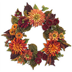 Orange Dahlia Wreath