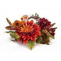 Orange Dahlia Floral Candle Holder