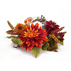 Orange Dahlia Floral Candle Holder