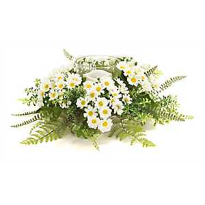 White Daisy Mix Floral Candle Holder