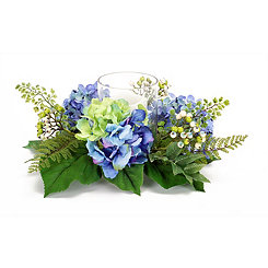 Blue Hydrangea and Berry Floral Candle Holder