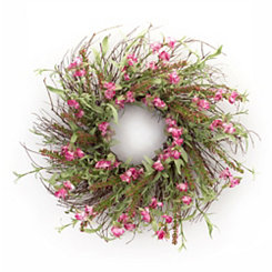 Pink Sweet Pea and Heather Wreath
