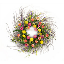 Pink and Yellow Floral Mix Wreath