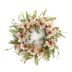 Pink Poppy and Foliage Wreath