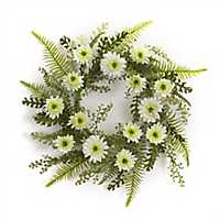 White Zinnia and Foliage Wreath