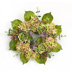Pink and Green Hydrangea Mix Wreath