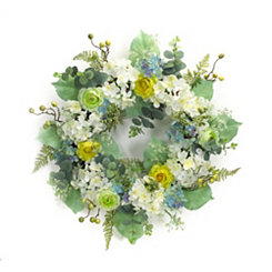 Green and Yellow Hydrangea Mix Wreath