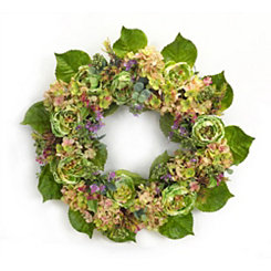 Green and Pink Peony Mix Wreath