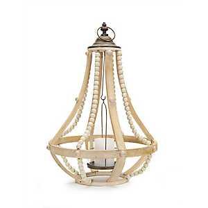 Honey Wood Beaded Cage Lantern