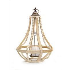 Honey Wood Beaded Cage Lantern