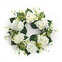 White Hydrangea and Foliage Mix Wreath