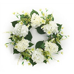 White Hydrangea and Foliage Mix Wreath