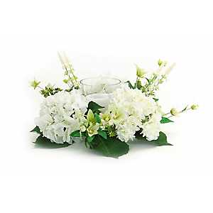 White Hydrangea Mix Floral Candle Holder