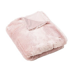 Rose Smoke Savannah Faux Fur Throw Blanket