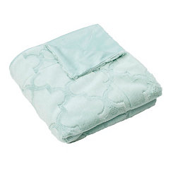 Blue Margo Quatrefoil Faux Fur Throw Blanket