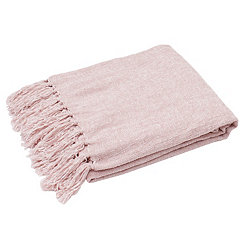 Rose Smoke Cece Fringed Chenille Throw Blanket