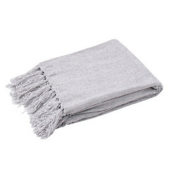 Vapor Gray Cece Fringed Chenille Throw Blanket