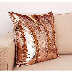 Rose and Gold Melody Mermaid Sequin Pillow