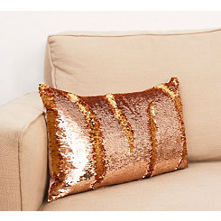 Rose and Gold Melody Mermaid Sequin Accent Pillow