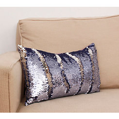 Nirvana and Silver Mermaid Sequin Accent Pillow
