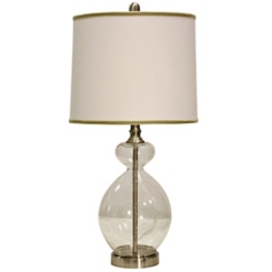 Brass and Clear Seeded Glass Table Lamp