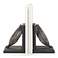 Antiqued Feather Bookends, Set of 2