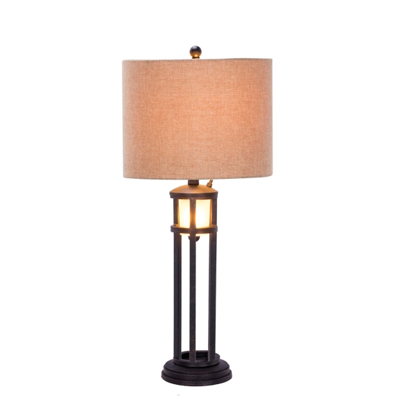 Black Metal And Frosted Glass Table Lamp ...