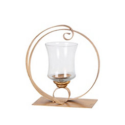 Gold Circle Cutout Candle Holder, 14 in.