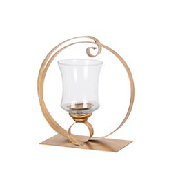 Gold Circle Cutout Candle Holder, 12 in.