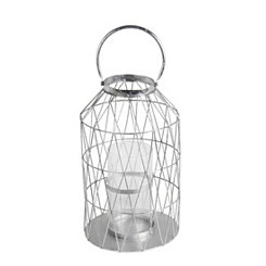 Silver Cutout Triangle Lantern, 20.5 in.