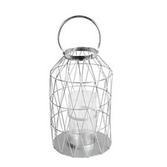 Silver Cutout Triangle Lantern, 17 in.