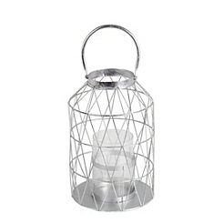 Silver Cutout Triangle Lantern, 15 in.