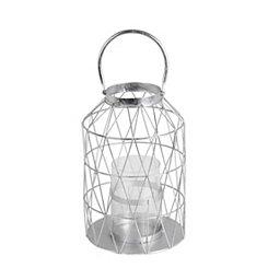 Silver Cutout Triangle Lantern, 15 in.
