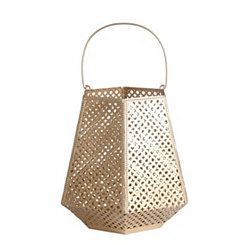 Matte Gold Cutout Pattern Lantern, 17.5 in.