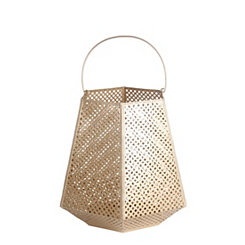 Matte Gold Cutout Pattern Lantern, 22 in.