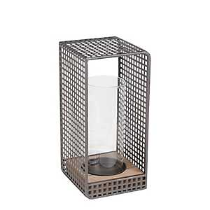 Small Wood and Iron Grid Lantern