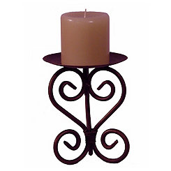 Weathered Bronze Scroll Candle Holder, 9 in.