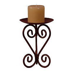Weathered Bronze Scroll Candle Holder, 11 in.