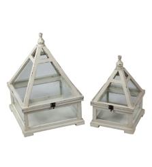 Wooden White Triangle Lanterns, Set of 2