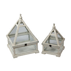 Wooden White Triangle Lanterns, Set of 2