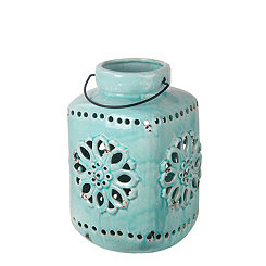 Blue Cutout Medallion Ceramic Lantern, 13 in.