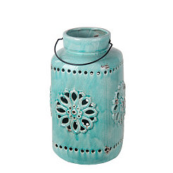 Blue Cutout Medallion Ceramic Lantern, 16.5 in.