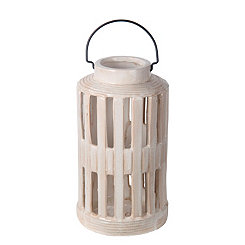 White Barred Ceramic Lantern, 13 in.
